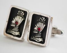 Vintage Cufflinks: Knight Cuff Links Silver Toned by CuffsandClips