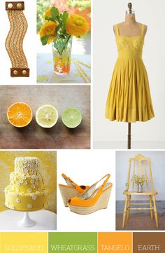 Color Palette Idea:  Goldenrod, Wheatgrass, Tangelo and Earth