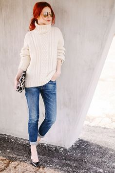 casual yet polished - great fall style. especially love the mix of a chunky relaxed ivory sweater with distressed cuffed jeans mixed with classic pumps
