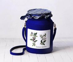 Blueberry Jam Jar Bag Dark Blue Felt Bag