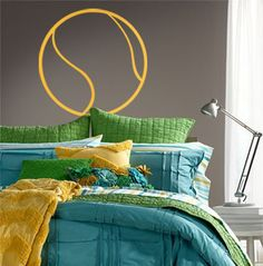 This simple tennis ball outline wall decal can bring a lot of life to your walls! The tennis ball outline design is great for your teen's sporty themed bedroom or bathroom!  Pictured in Sunshine Yellow #19, in size 28 x 28. from www.beautifulwalldecals.com