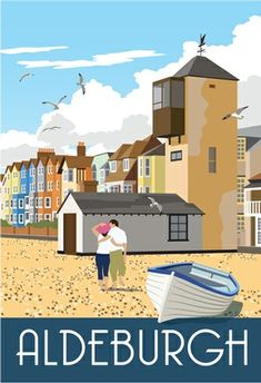 ALDEBURGH - Pebbly beach, sea-gulls, fish & chips, Benjamin Britten - all a stone's throw from my doorstep. Posters Uk, Railway Posters, Art Deco Posters, Poster Prints, British Travel, British Seaside, Tourism Poster, Train Art, Travel And Tourism