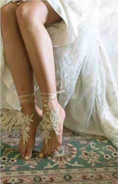 Beach Wedding Barefoot SandalsBridal Foot JewelryBoho Slave 89 Liked On Polyvore Featuring Jewelry