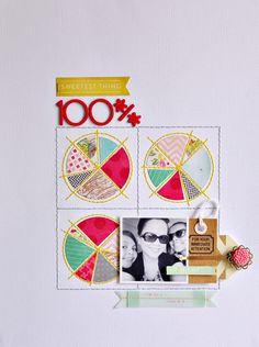 Love the hand stitched pie charts in this scrapbook layout.