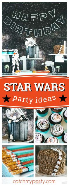 Feel the force of this fantastic Star Wars birthday party! The birthday cake is out of this world!! See more party ideas and share yours at CatchMyParty.com #starwars #vader #party