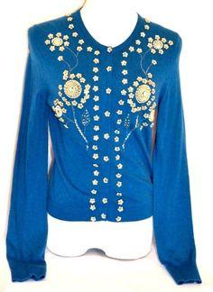 LUCKY BRAND Women's Turquoise Wool Blend Flower Deco Cardigan Sweater Sz L #LuckyBrand #Cardigan