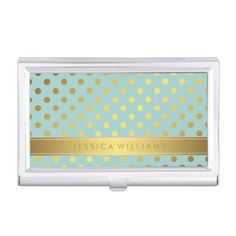 Mint Faux Gold Foil Polka Dots Pattern Business Card Cases