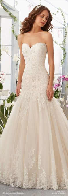 Alencon Lace Appliques on Tulle Gown with Scalloped Hemline
