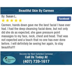 Carmen, hands down gave me the best facial I have ever had.  I had the deep cleansing...