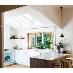 Folding windows in kitchen