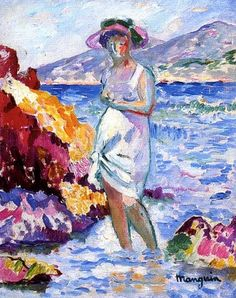 Baigneuse à Cavalière , 1905 - Henri Charles Manguin was a French painter, associated with Les Fauves. Manguin entered the École des Beaux-Arts to study under Gustave Moreau, as did Matisse and Charles Camoin with whom he became close friends.