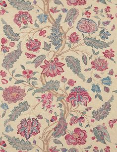 Kalamkari Fabric from Zoffany Jaipur Collection. A woven fabric printed with an intricate floral Palampore design in rich reds, indigo and sage on a natural ground. Indian Prints, Indian Textiles, Textile Pattern Design, Fabric Design, Zoffany Fabrics, Kalamkari Fabric, Kalamkari Painting, Painted Rug, Floral Curtains