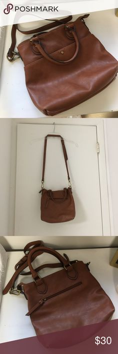 Merona || cognac crossbody bag Details: Super cute cognac crossbody bag. Removable and Adjustable strap. Zipper on top.  Perfect for summer or everyday! Great condition!  ❓Questions? Leave me a comment :) ⚡️Fast shipping  💁🏻 Like anything else? Bundle! 🙂 Feel free to make me an offer! Merona Bags Crossbody Bags