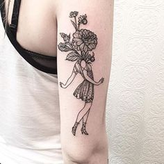 Lady with Flowers by @johno_tattooer #blackiristattoo #brooklyn #greenpoint