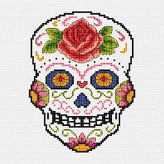 Cross stitch pdf file of Day of the Dead sugar skull - Rosa. Download available once payment is received.