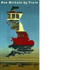 A poster designed by Abram Games showing part of a train as seen through an outline of a map of Britain