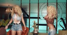 Pin for Later: Britney Spears and Iggy Azalea Look Like '80s Barbies in Their New Music Video  Iggy has now transformed into a cutout bodysuit, denim waistcoat, and short denim shorts.