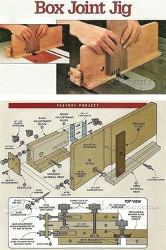 18 Joinery Pins you might like Woodworking Table Saw, Woodworking Furniture Plans, Woodworking Basics, Woodworking Joints, Woodworking Techniques, Woodworking Projects, Box Joint Jig, Box Joints, Homemade Tools