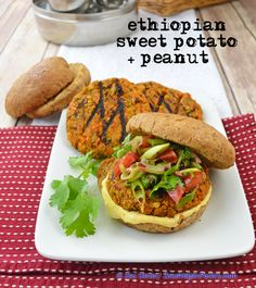{Zsu's Vegan Pantry: ethiopian sweet potato + peanut burger} Also includes the staple of Nitter Kibeh (spiced oil mixture common in ethiopian cooking.}
