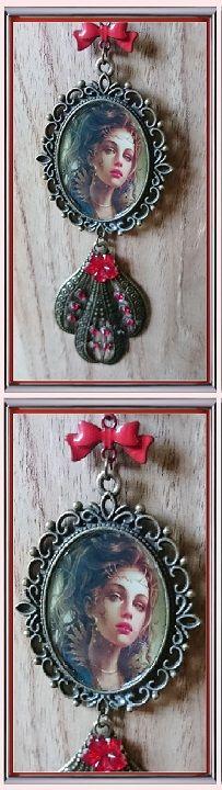 collier de princesse Rose Rouge enfermée par magie dans un miroir baroque ❄ 27 € ❄  Résine, Strass ❄ B348 ❄ #gabyféerie #bijoux #collierfée #bijoubaroque #bijouxfaitmain ❄  recherche avancée à l'aide du titre et des critères choisis