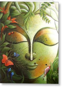 The Tree Of Life Series 2 Painting by Dhananjay Mukherjee Buddha Kunst, Buddha Zen, Buddha Face, Buddha Painting, Krishna Painting, Tree Of Life Painting, Painting Trees, Meditation, Nova Era