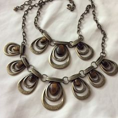 Stunning Tigereye brass statement necklace new Gorgeous, Tigereye stones 26 inches long with lobster clasp and extender Jewelry Necklaces