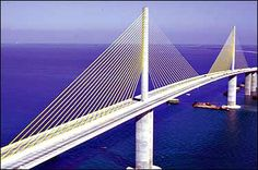 The Sunshine Skyway Bridge begins in south St.Petersburg, Florida and spans Tampa Bay,It connects Pinellas County and Manatee County