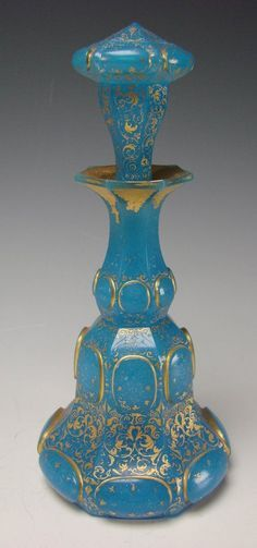 Antique French Baccarat Gilt Blue Opaline Perfume Scent Bottle.