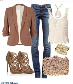 Brown Blazer, Cream Lace Blouse, Skinny Jeans, Nude Heels    #falloutfit