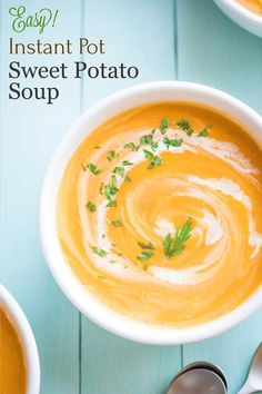 "A delicious, beautifully balanced Instant Pot Sweet Potato Soup! A family treasure - now healthier and easier but still ""PERFECT""! Healthy Thanksgiving Recipes, Holiday Recipes, Holiday Meals, Easy Meal Prep, Healthy Meal Prep, Healthy Chili, Sweet Potato Soup, Sweet Potato Recipes, Banana Bread With Pineapple"