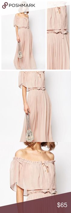 Asos off the shoulder nude dress Perfect cinched at the waist maxi-dress in on trend nude color. 100% viscose. Fully lined 100% polyester lining Asos Dresses Maxi