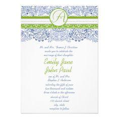 Royal Blue Apple Green Gray Love Birds Wedding Cards
