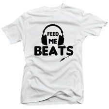 Feed Me Dubstep Shirts | Mens DJ Music Clubbing Trance House Headphones Dubstep White Top T ...