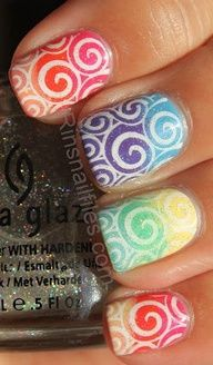 white swirls on ombre backgrounds! awesome!