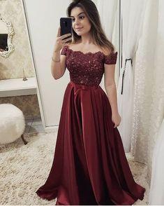 Laurashop - Off the Shoulder Burgundy Short Sleeves Lace Fancy Prom Dresses  Formal Evening Dress 8fadd65511