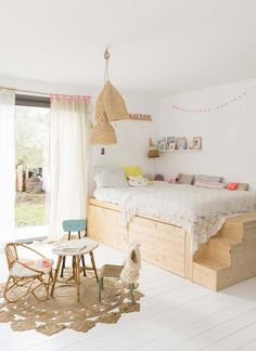 Having a small kids bedroom doesn't have to mean compromise. Here are 6 ideas to make the most of any small space (image via vtvonen) Deco Kids, Wooden Bedroom, Big Girl Rooms, Kids Room Design, Kid Spaces, Small Spaces, Kid Beds, Play Houses, Girls Bedroom