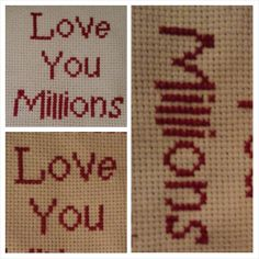 Love You Millions  cross stitched anniversary by PlanetVonnychops, £3.00