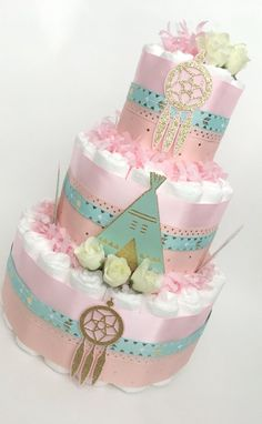 Boho Diaper Cake Pink Mint and Gold. Baby Shower Diapers, Baby Shower Cakes, Baby Shower Gifts, Baby Gifts, Diaper Cake Centerpieces, Baby Shower Centerpieces, Baby Shower Decorations, Boho Baby Shower, Baby Shower Fall