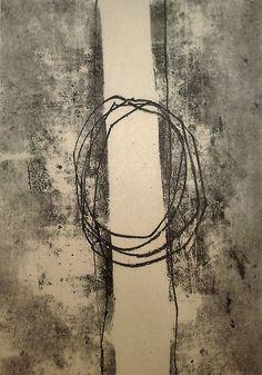 "Jai Llewellyn, ""Threads"", Monotype on newsprint"