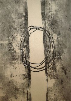 "Jai Llewellyn, ""Threads"", Monotype on newsprint"