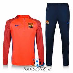 Nouveau Survetement de foot FC Barcelone Orange Printing 2016 2017