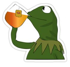 """""""Kermit sipping tea"""" Stickers by DaftPina 