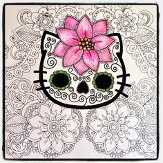 Image result for cute day of the dead cat tattoo