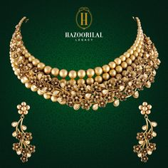 #TheGoldenEssence: Featuring an ethereal charm, stunning details define the floral gold necklace by #HazoorilalLegacy. Visit us for elegant designs at our exclusive showrooms in South Extension, New Delhi: 011 - 4873 3333 & Gold Souk, Gurgaon: 0124 - 4115123