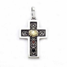 Cross in sterling silver, jet and coral with gold shell. Handmade in Galicia by artesans silversmiths. Artcraft of The Way of St.James. Tax free $84.90