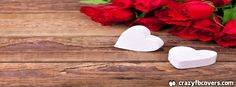 Old Wood, Red Roses And White Hearts Valentines Facebook Cover - Facebook Timeline Cover Photo - Fb Cover