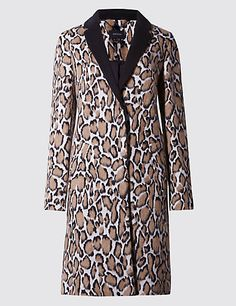 Buttonsafe™ Animal Print Coat with Wool   M&S £129
