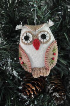 Kerst Uil | Kerst | Decoraties | Vilt | Handwerk | zelfmaakpakketjes | Atelier Wilma Creatief