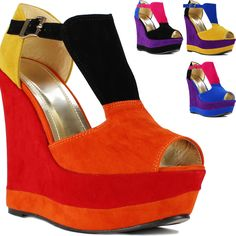 New Ladies Womens Faux Suede Sexy High Heel Platform Wedge Peeptoe Sandals Shoes | eBay