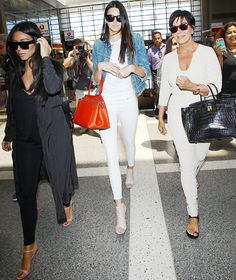 Triple Style Alert! Kim Kardashian, Kendall Jenner, and Kris Jenner Hit the Airport in High Fashion